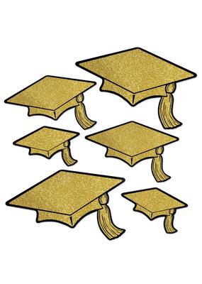 ***Grad Cap Gold Glittered Foil Cutouts