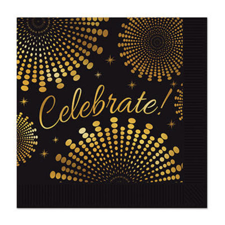 ***Celebrate Gold Black Beverage Napkins 16ct