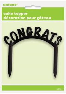 "***Cake Topper ""Congrats"" Black"