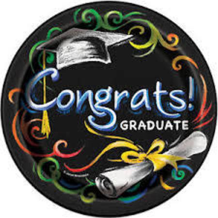 """*Chalkboard Graduation 9"""" plate"""
