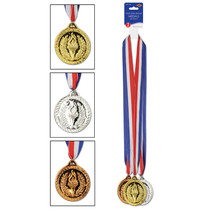 """*Gold, Silver & Bronze Medals w/Ribbon 30"""" w/2"""" Medal"""