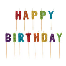 ***Rainbow Glitter Happy Birthday Candle Picks