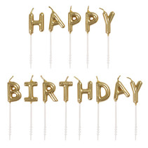 ***Gold Happy Birthday Pick Candles