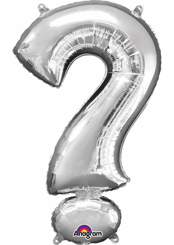 "***Silver ? Question Mark Balloon 36"" Tall"