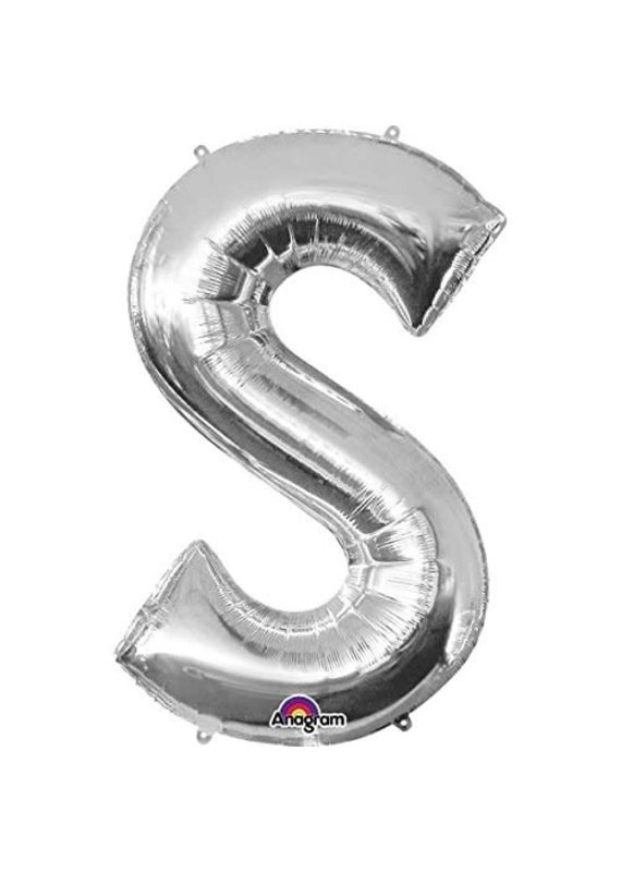 "****Silver Letter S Balloon 33"" Tall"