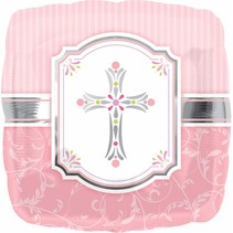 "***Pink Blessings Square 18"" Mylar Balloon"