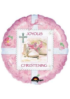 """***Joyous Pink Christening 18"""" Mylar Balloon"""