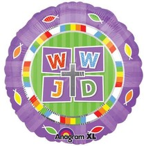 "***WWJD  What Would Jesus Do 18"" Mylar Balloon"