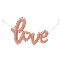 "***Love Script Rose Gold 47"" Air Filled Mylar Balloon"