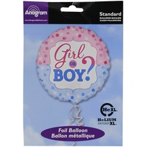 "***Girl or Boy Gender Reveal 18"" Mylar Balloon"
