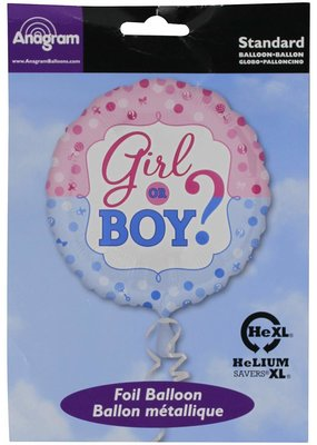 "***Girl or Boy Gender Reveal 18"" Mylar Balloon"