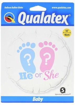 """***He or She Gender Reveal 18"""" Mylar Balloon"""
