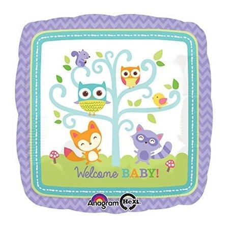 """***Welcome Baby Woodland 17"""" Mylar Balloon"""
