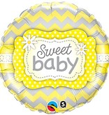 "***Sweet Baby Yellow Patterns 18"" Mylar Balloon"