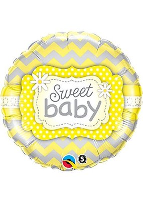 "***Sweet Baby Yellow Patterns 18"" Mylar Balloon"