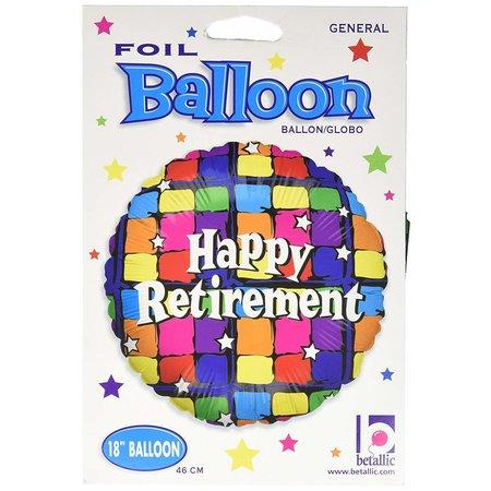 "***Happy Retirement Color Block 18"" Mylar Balloon"