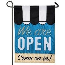 ***We Are Open Applique Flag