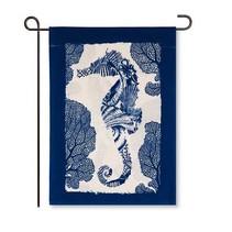 ***Seahorse Garden Burlap Flag