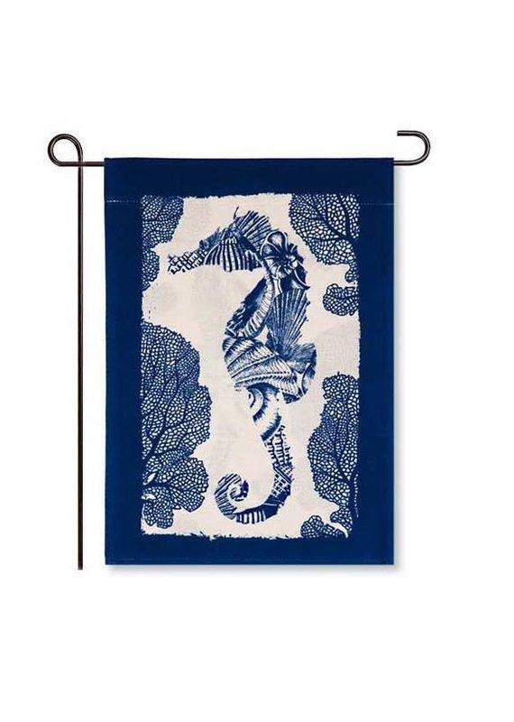 ****Seahorse Garden Burlap Flag
