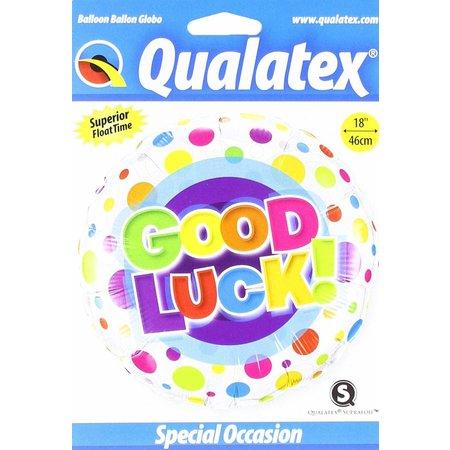 "***Good Luck Colorful Dots 18"" Mylar Balloon"