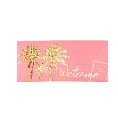 ***Sassafrass Gold Palm Tree Welcome Swtich Mat