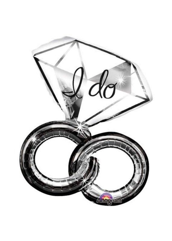 "*****Wedding ring I Do 30"" Jumbo Mylar Balloon"