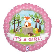 "***Woodland Critter It's a Girl 18"" Mylar Balloon"