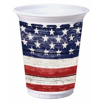 ***Weathered Flag 16oz Plastic Cups 8ct