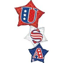 """***USA Patriotic 50"""" Stacker Jumbo Mylar Balloon"""