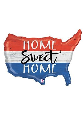 "***Patriotic Home Sweet Home USA Map 33"" Mylar Balloon"