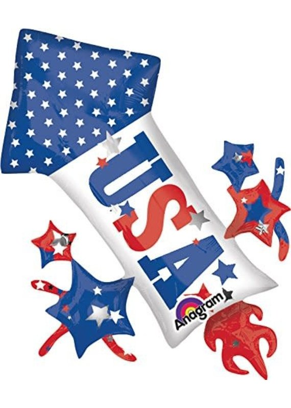 """***USA  Patriotic Rocket Fireworks 42"""" Jumbo Mylar Balloon"""
