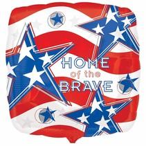 "***Home of the Brave Patriotic Mylar 18"" balloon"