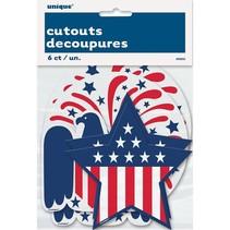 ***Patriotic Assorted Cutouts 6ct
