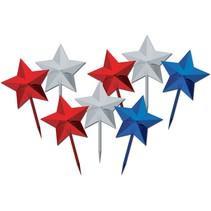 "***Patriotic Star 3"" Picks 8ct"