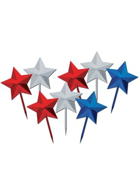 "***Patriotic Star 3"" Picks 8ct"