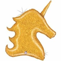 "***Gold Glitter Holographic Shapae 38"" Unicorn Head Balloon"