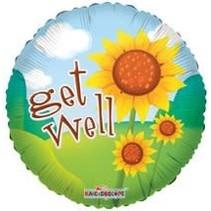 "***Sunflower Get Well 18"" Mylar Balloon"