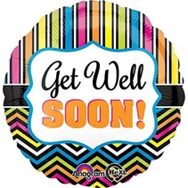"***Get Well Soon Stripes 18"" Mylar Balloon"