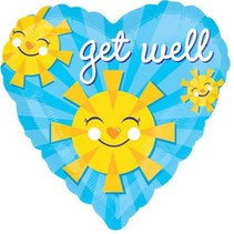 "***Get Well Sun Heart Shape 18"" Mylar Balloon"
