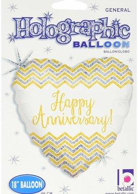 "***Chevron Anniversary 18"" Heart Shape Mylar Balloon"