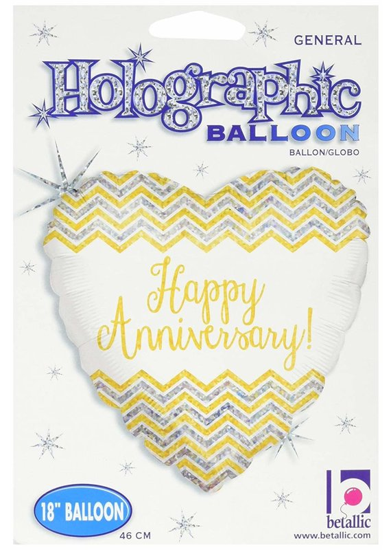 "***Chevron Anniversary 18"" Heart Shape Mylar Balloon"
