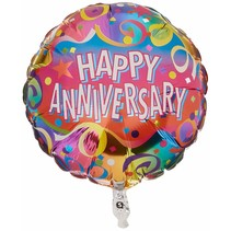 "***Streamers Happy Anniversary 18"" Mylar Balloon"