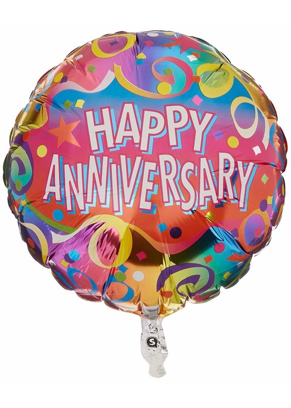"****Streamers Happy Anniversary 18"" Mylar Balloon"