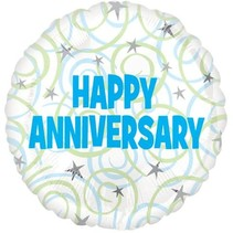 "***Blue Anniversary 18"" Mylar Balloon"