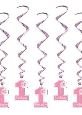 ***Pink 1st Birthday Whirls 5ct