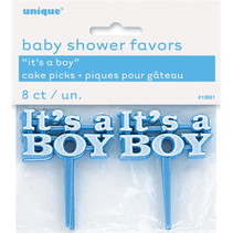 ***It's A Boy Cake Picks 8ct. Baby Shower Favors