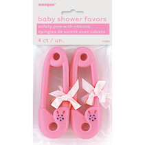 ***Pink Baby Pins 4ct. Baby Shower Favors