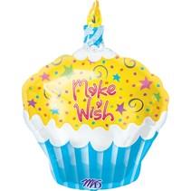 """***Make a Wish Cupcake Shape 19"""" Mylar Balloon"""