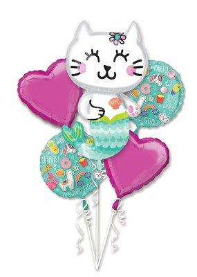 ***Mermaid Kitty Balloon Bouquet 5ct