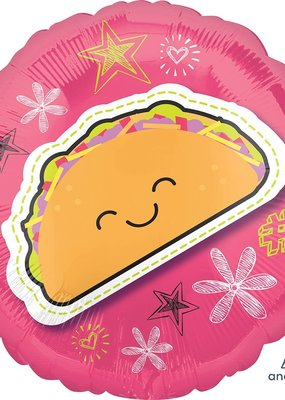 "***Pink Taco 18"" Mylar Balloon"